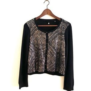 Knited And Knoted Cardigan Silver Sequin Black